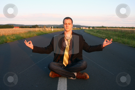 Man relaxing stock photo, Man relaxing in a road by Istv??n Cs??k
