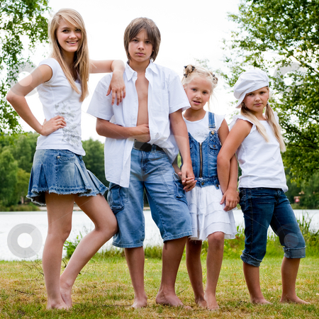 The jeans family stock photo, Portrait with al the children of the family by Frenk and Danielle Kaufmann