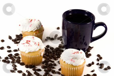 Isolated Coffee Mug with Cupcake stock photo, Isolated Coffee Mug with beans and cupcakes by Mehmet Dilsiz