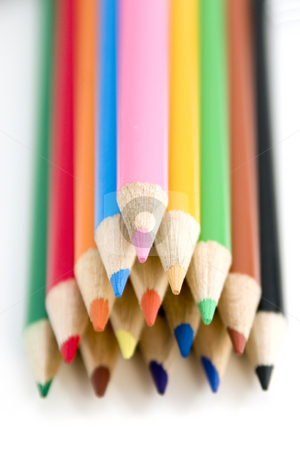 Coloring Pencils Piled up in Pyramid - Shallow DOF stock photo, Colored Pencils Piled up in Pyramid - Shallow DOF by Mehmet Dilsiz