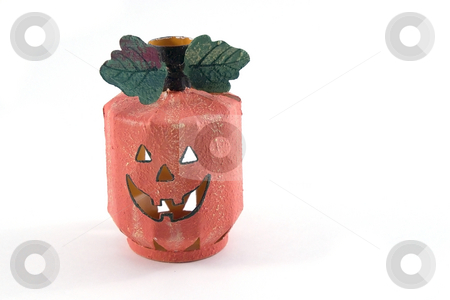Halloween Decoration - Pumpkin Candle Holder stock photo, Halloween Decoration - Orange Pumpkin Candle Holder by Mehmet Dilsiz