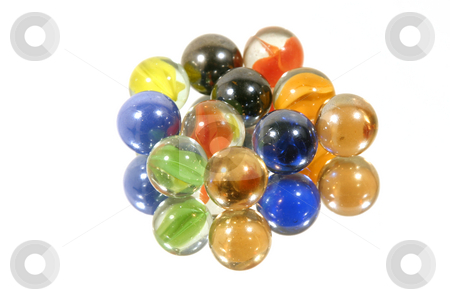 Few Marbles on Mirror stock photo, Few Isolated Marbles on Mirror by Mehmet Dilsiz