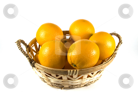 Basket of Oranges stock photo, Isolated Shot of a Basket of Oranges by Mehmet Dilsiz