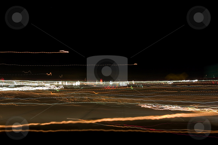 Field of Abstract Night Lights stock photo, Shot of lights taken from the car with a tripod while travelling by Mehmet Dilsiz