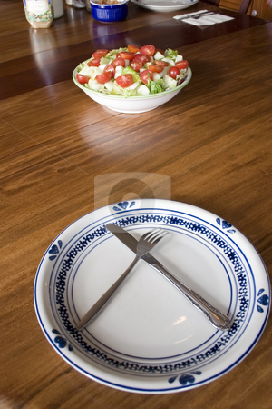 Bowl of Salad and an Empty Plate stock photo, Bowl of Salad and an Empty Plate by Mehmet Dilsiz