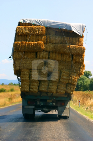 Overloaded hay truck in the west coast of Turkey stock photo, Overloaded hay truck in Turkey by Mehmet Dilsiz