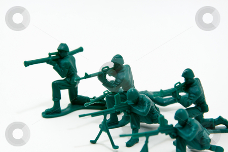 Attack Concept - Plastic Soldiers stock photo, Isolated Plastic Toy Soldiers - Attack by Mehmet Dilsiz