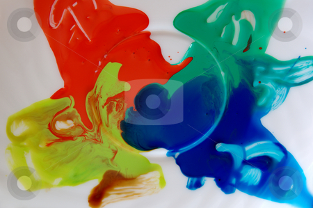Color mix stock photo, Fresh acrylic paint mix on white plate with brush traces by Milsi Art
