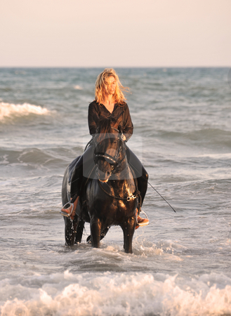 Riding woman in sea stock photo, Blond woman on her stallion in the sea by Bonzami Emmanuelle