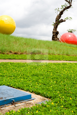 Beautiful park view stock photo, Perspective scene of a colorful and well-cared conceptual park - landscaping by R. Eko Bintoro