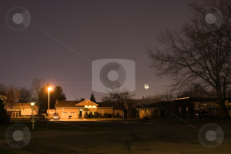 Neighborhood At Night stock photo, Night Shot of a Neighborhood by Mehmet Dilsiz