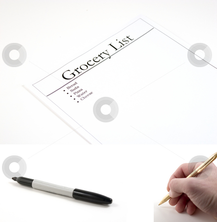 Grocery List - (marker and hand with pen included to be pasted) stock photo, Grocery List - hand with pen and marker included separately.  Feeback Paper dimension 3072x2048... Hand with pen dimension 1000x990, Marker dimension 1700x760 by Mehmet Dilsiz