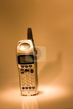 Telephone  stock photo, Isolated Telephone in the spot light - Chrome Lighting by Mehmet Dilsiz