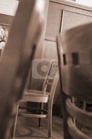 Chairs in a Restaurant - Nostalgic View stock photo, Nostalgic View of a Restaurant with Close up on Chairs by Mehmet Dilsiz