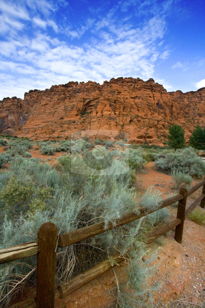 Hiking Path in Snow Canyon with Rails in the Image - Utah stock photo, Hiking Path in Snow Canyon with Rails in the Image by Mehmet Dilsiz