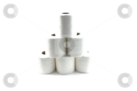 Isolated Toilet Papers forming a Pyramid stock photo, Roll of Toilet Papers Stacked up On Top of Each Other - Isolated by Mehmet Dilsiz