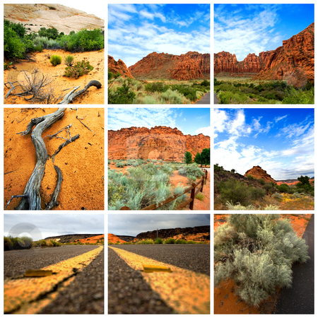Sand Canyon - Utah  stock photo, Collage of Sand Canyon Utah Nature Scenes by Mehmet Dilsiz
