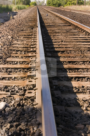 Railroad Tracks stock photo, Close up on Railroad Tracks by Mehmet Dilsiz