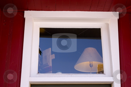 Close up on a Window with Lamp inside stock photo, Lamp Shade Behind the Window with Reflections by Mehmet Dilsiz