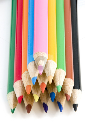 Coloring Pencils in Pyramid - All in Focus stock photo, Colored Pencils in Pyramid - All in Focus by Mehmet Dilsiz