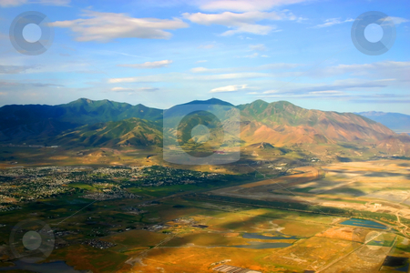 Overlooking at Salt Lake City stock photo, Aerial Shot of Salt Lake City by Mehmet Dilsiz