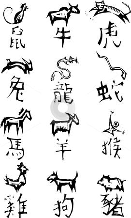 Chinese zodiac Symbols stock vector clipart, Primitive woodcut style Chinese zodiac symbols. by Jeffrey Thompson