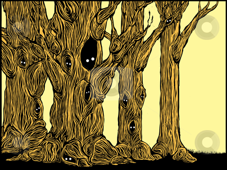 Spooky Trees stock vector clipart, Grove of spooky trees in woodcut style with eyes peering from hollows. by Jeffrey Thompson