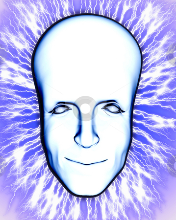 Electric Head stock photo, Concept image of a smart head crackling with electricity. by Chris Harvey