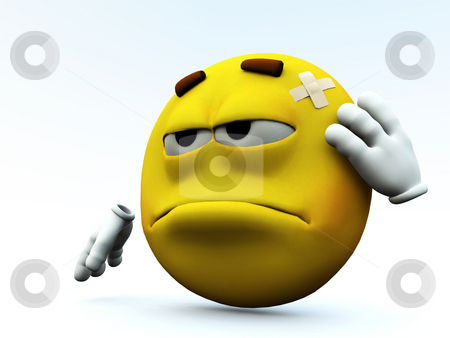I Hurt Myself  stock photo, Concept image of a cartoon face that has hurt itself. by Chris Harvey