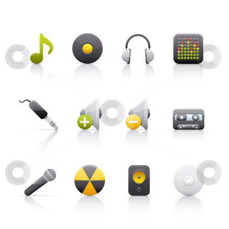 Icon Set - Audio Equipment stock vector clipart, Set of icons on white background in Adobe Illustrator EPS 8 format for multiple applications. by Sebasti??n Al?