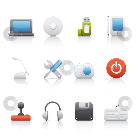 Icon Set - Computer Equipament stock vector clipart, Set of icons on white background in Adobe Illustrator EPS 8 format for multiple applications. by Sebasti??n Al?