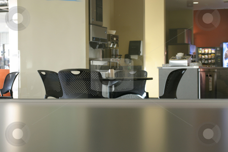 Empty Cafeteria stock photo, 4 Chairs and the Empty Cafeteria by Mehmet Dilsiz