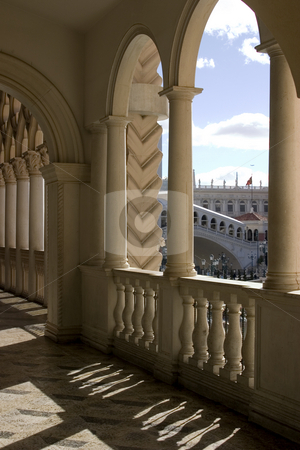 Venetian Balcony Columns and Arches in Las Vegas stock photo, Venetian Balcony Columns and Arches in Las Vegas Nevada by Mehmet Dilsiz