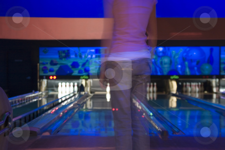 Waiting for her turn in the Bowling Alley stock photo, Blurry Abstract - Waiting for her turn in the Bowling Alley by Mehmet Dilsiz