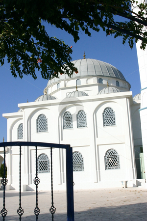Mosque stock photo, Mosque behind the gate by Mehmet Dilsiz