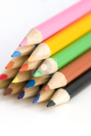 Coloring Pencils in Pyramid at an Angle stock photo, Colored Pencils in Pyramid at an Angle by Mehmet Dilsiz
