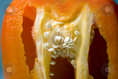 Half Cut Orange Pepper stock photo, Close up on a Half Cut Orange Pepper by Mehmet Dilsiz