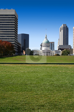 Downtown St. Louis stock photo, Downtown View from the Arch in St. Louis by Mehmet Dilsiz