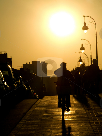 Cyclist at sunset stock photo, Cyclist on the sidewalk of the Pont Neuf bridge  at sunset in the city of toulouse by Laurent Dambies