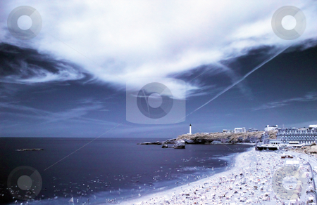 Infrared seascape stock photo, Infrared seascape of the beach in Biarritz french basque country by Laurent Dambies