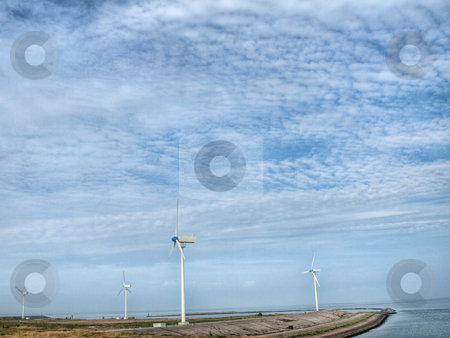 Wind turbines landcape stock photo, Wind turbines landcape in the North of the Netherlands by Laurent Dambies