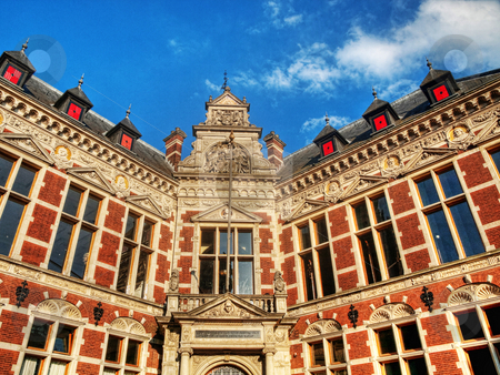 Utrecht architecture stock photo, Utrecht university building under blue sky and clouds hdr processed by Laurent Dambies