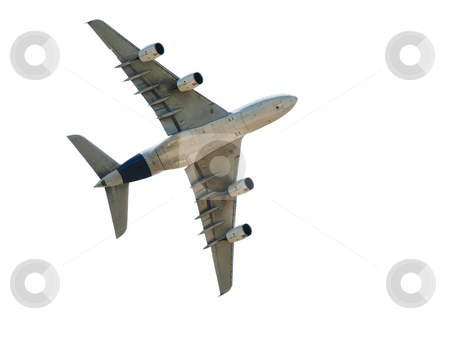 Airliner stock photo, Majestic flying airliner Airbus A380 isolated on  white by Laurent Dambies