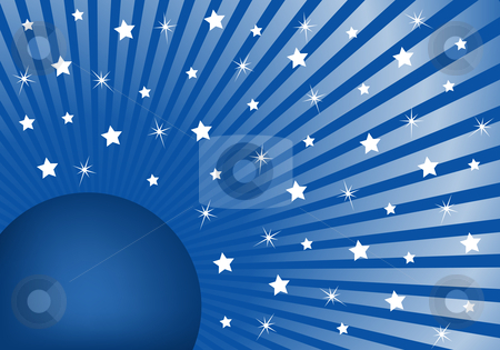 Abstract Background Blue with White Stars stock vector clipart, Blue sunburst background with various white stars giving a celebration feel to the design. Small space to add copy text by toots77