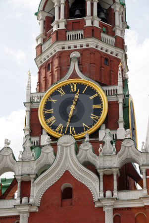 The Kremlin Spasskaya tower on Red Square in Moscow stock photo, The Kremlin Spasskaya tower on Red Square in Moscow, Russia by Julija Sapic