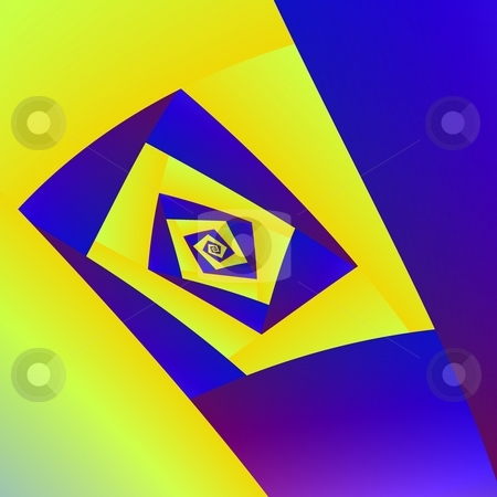 Yellow and Blue Spiral stock photo, Computer generated abstract image in a blue and yellow square spiral design. by Colin Forrest