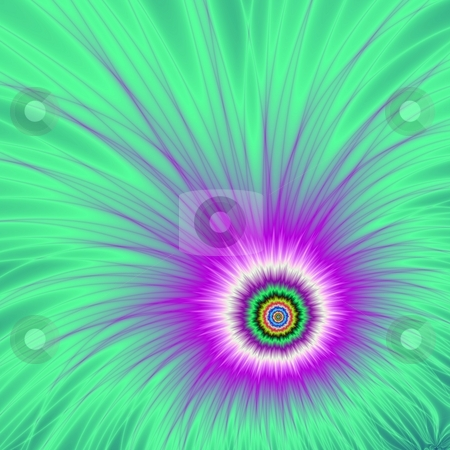 Colour Explosion Purple On Green stock photo, Computer generated image with an explosion of purple on a green background. by Colin Forrest