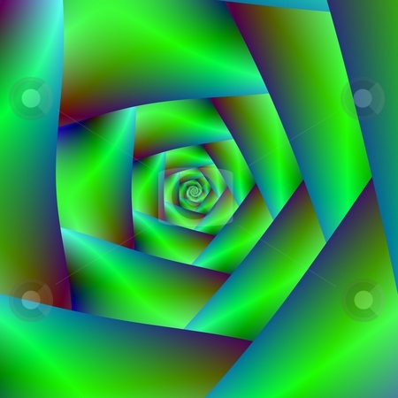 Green Spiral stock photo, Computer generated fractal image with a spiral design in green hues. by Colin Forrest