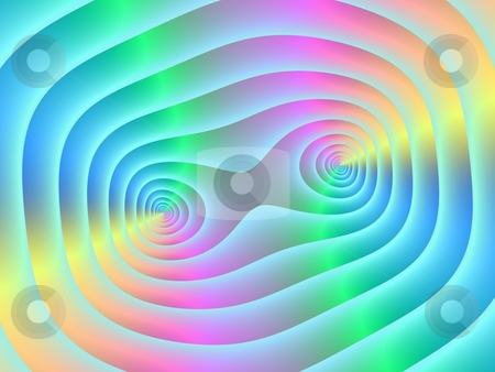 Twin Spirals stock photo, Computer generated image with a twin spiral pattern in blue pink green and yellow. by Colin Forrest
