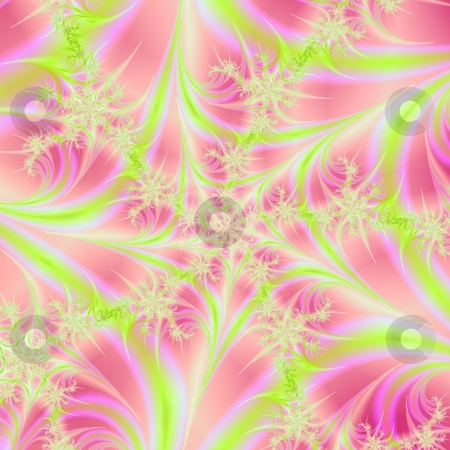 Spiral Web In Pink And Yellow stock photo, Computer generated fractal image with a spiral web design in yellow and pink. by Colin Forrest